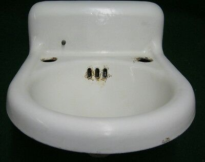"Antique Bathroom Powder Room Sink Porcelain Small 14""x16""  #1202-12"