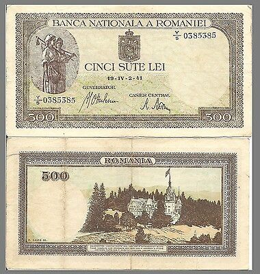 Romania P51, 500 Lei, peasant women / castle, 1940 - old handsome note $11 CV