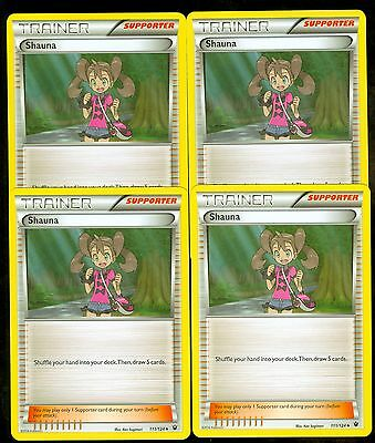 Shauna 111//124  NM x4   Fates Collide Pokemon TCG Uncommon Trainer