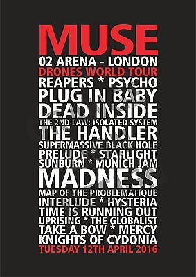 Muse - Drones World Tour 2016 London O2 Arena April 12th Set List Poster
