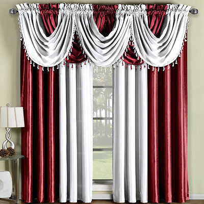 Soho Faux Silk Rod Pocket Panel or Waterfall valance- Single Panel Or Valance