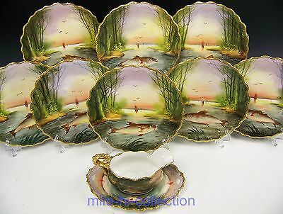 Beautiful 10 Pieces Limoges Hand Painted Signed Fish, Birds, Scenes Game Set