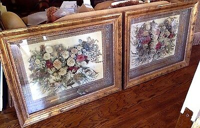 Pair of Antique Victorian Floral Shadowboxes - Very Large