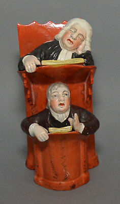 Staffordshire Figure Vicar & Moses Pulpit 19th c. Victorian Pearlware Judge