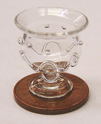 1:12 Scale Ornamental Real Glass Cranberry Bowl Tumdee Dolls House Accessory No1