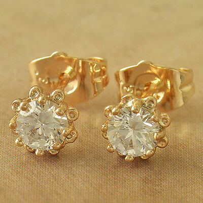 14K Yellow Solid Gold Plated crystal infant toddler tiny Flower Stud Earrings