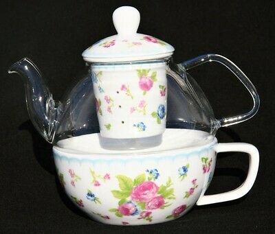 New Cavalier Porcelain Tea For One Cottage Rose Teapot And Cup Set.
