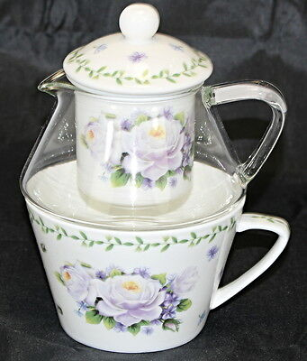 Tea For One Purple Rose Teapot Infuser And Cup