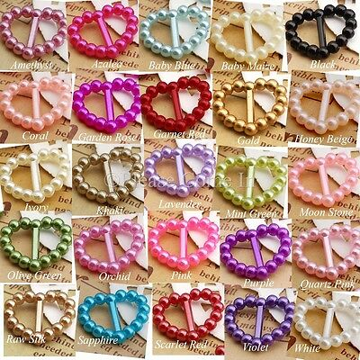 200 - 500 Pearl Heart Buckle/Ribbon Slider Scrapbooking Wedding Invitation