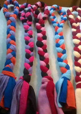 5x dog  fleece plaited dog toy looped top three sizes flyball agility 3 sizes