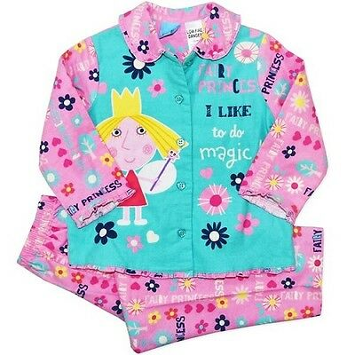 New Girls Licensed Ben and Holly's Little Kingdom Flannel Pyjamas, Pjs Sizes 2-6