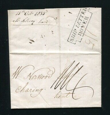 Great Britain France Ship Letter Dover Boulogne Shoes Charing Kent 1835