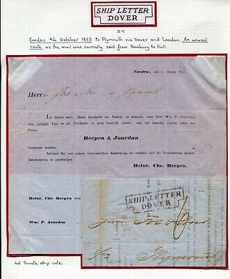 Great Britain Germany Emden Dover Kent Plymouth Devon Ship Letter 1853