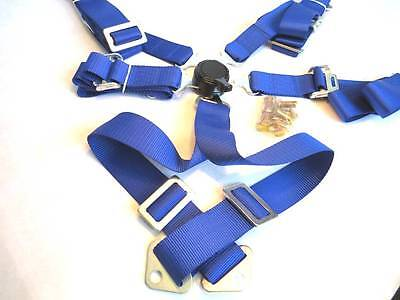 """New  2"""" Sports Racing Harness Seat Belt 6/5/4 Points Fixing Blue Quick Release"""