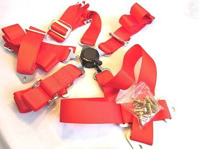 """New 2"""" Sports Racing Harness Seat Belt  6/5/4 Points Fixing Red Quick Release"""