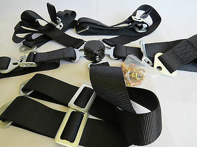 """New 2"""" Sports Racing Harness Seat Belt  6/5/4 Points Fixing Black Quick Release"""