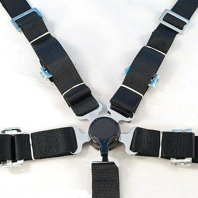 "New Sports Racing Harness Seat Belt 2"" 5/4 Points Fixing Black Quick Release"