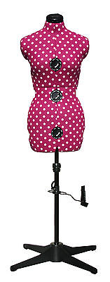 Adjustoform Cerise Polka Dot 8-Part Adjustable Dressmakers Dummy UK 16-20