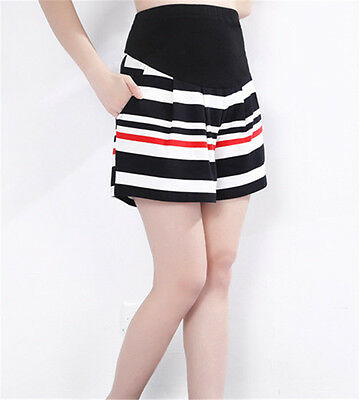 Pregnant Women Pants Fashion Casual Striped Loose Maternity Shorts Black Red