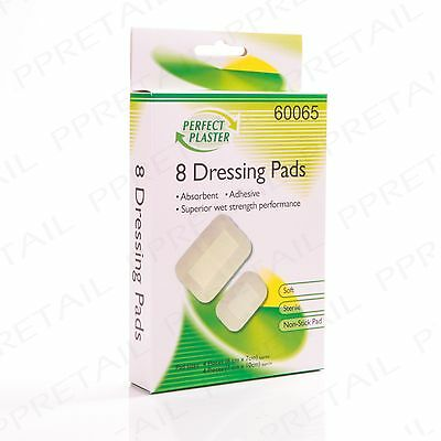 8 x DRESSING PADS Small-Large Sterile Heal Protect Wounds/Cuts/Scrapes/Burns