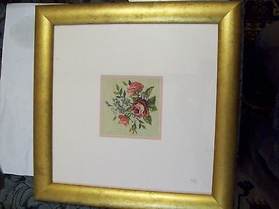Set of 3 Gold Framed Fine Cross stitch Roses, 1 at 46cm and 2 at 29cm square