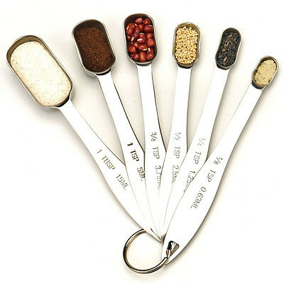 Newest design 6 Piece Stainless Steel Measuring Spoon Set