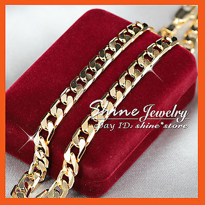9K YELLOW GOLD GF SOLID FLAT CURB RING CHAIN ITALIAN MEN XMAS GIFT NECKLACE 60cm