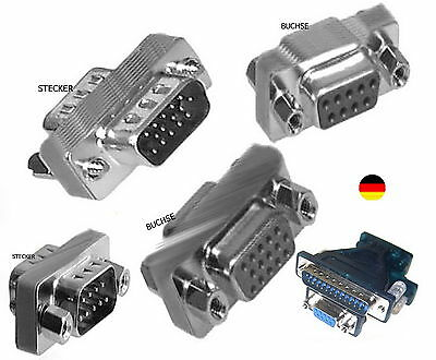 Gender Changer s VGA SVGA RS232 9 polig STECKER BUCHSE Nullmodem-Kabel-ADAPTER