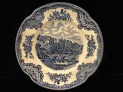"""2 Johnson Brothers  Old Britain Castles  Blue  6 1/4"""" Bread & Butter Plates"""