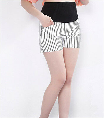 Pregnant Women Care Belly Pants Summer Casual Loose Striped Maternity Shorts