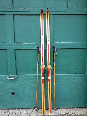 """Vintage Wooden 76"""" Long RED Skis with Bindings LANDSEM and Bamboo  Poles"""