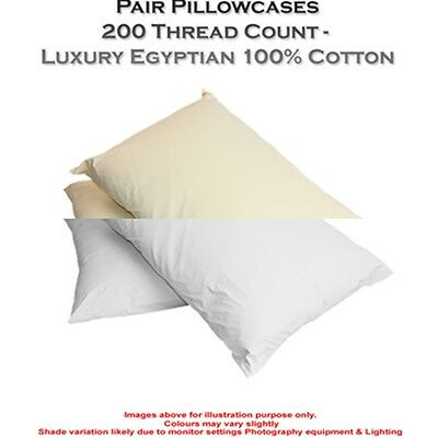 Luxury 100% Housewife Egyptian Cotton 200 Thread Count Pair Pack 2 X Pillow Case