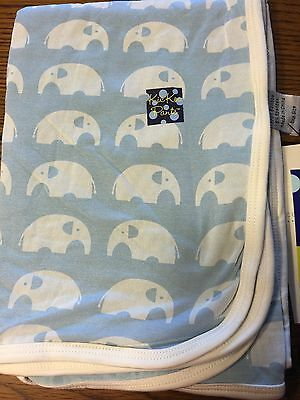 *NWT KICKEE PANTS* Bamboo Essentials POND ELEPHANT Swaddle Receiving Blanket