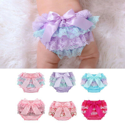 Toddler Baby Infant Girl Lace Ruffle Bloomer Nappy Underwear Panty Diaper Cover