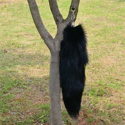 Large Black Real Fox Cosplay Tail Fur Tassel Bag Tag Accessory keyrings US stock