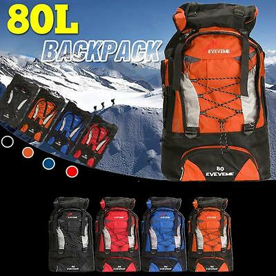 80L Load Waterproof Rucksack Backpack Bag Luggage Outdoor Hiking Camping Travel
