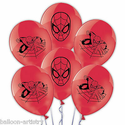 6 Marvel Comics Spider-Man Children's Party Red 27.5cm Printed Latex Balloons