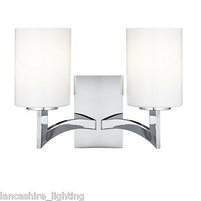 Searchlight 4992-2CC Gina Double Wall Light Polished Chrome/Glass Finish