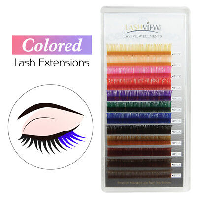 Rainbow Color Multi Color Colored Eyelash Extensions 0.07mm 0.15mm 0.20mm C Curl