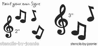 STENCIL Music Notes Treble Clef Scrapbook Band Sing Song Art Decor Craft Signs