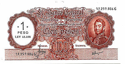 Argentina P282 ND (1969-1971) Serie G 1 Peso ovpt on 100 Pesos UNC