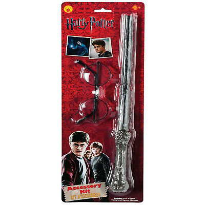 Rubies Official Licensed Wand Glasses Harry Potter Fancy Dress Accessory Kit Set