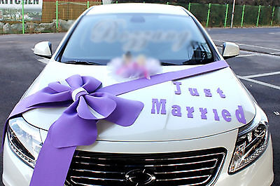 Wedding car Decorations kit Big Ribbons Purple bows Letter banner Decorations