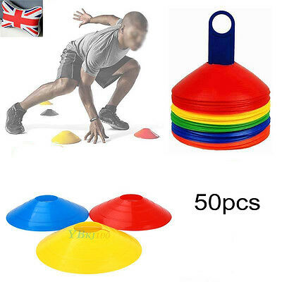 50 x Training Running Fitness Cones Football Sports Marker Disc with Stand