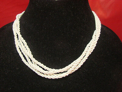 Antique Art Deco Victorian Seed Bead Choker Necklace 4 Strand 15""