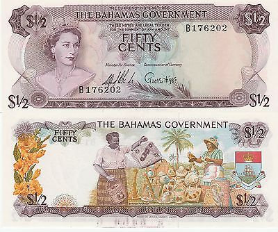 Bahamas Fifty Cents,1/2 Dollar Banknote 1965 Extra Fine Cat#17-A-176202