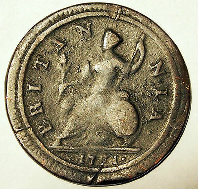 1721 Half Penny - King George I - Great Britain - average circulated condition