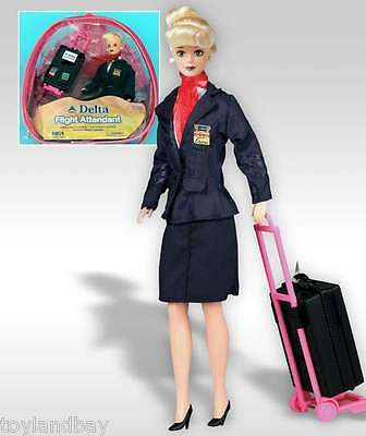 "Flight Attendant Doll Delta Airlines 11"" Doll Blond w/ Backpack  Accessories New"