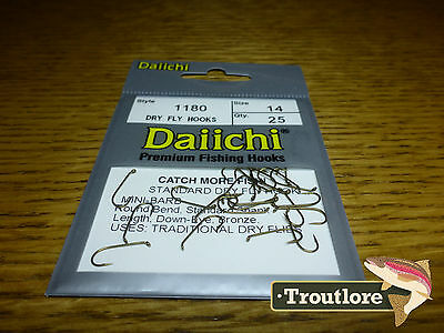 25 x DAIICHI 1180 #14 STANDARD DRY FLY HOOK MINI BARB NEW FLY TYING