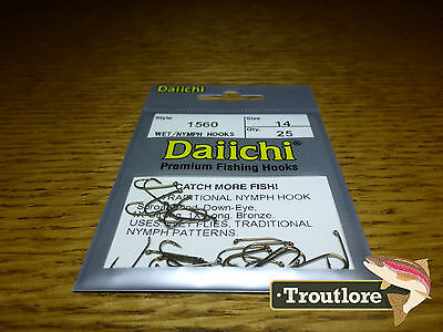 25 x DAIICHI 1560 #14 TRADITIONAL NYMPH & WET FLY HOOK NEW FLY TYING